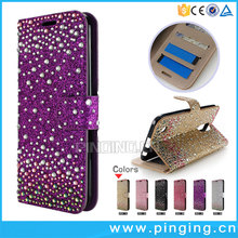 New Luxury colorful diamond glitter card slot wallet leather for Huawei Y7 Prime , stand case for Huawei Y7 Prime