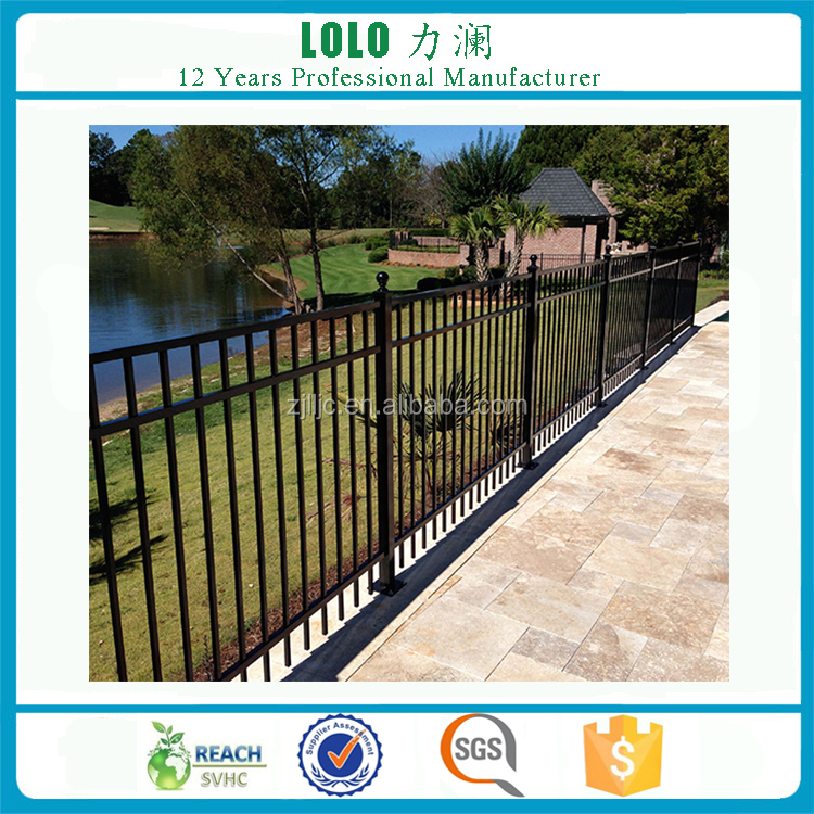 3 Rails Flat Top PVC Coated Ornamental Wrought Iron Fence With Post