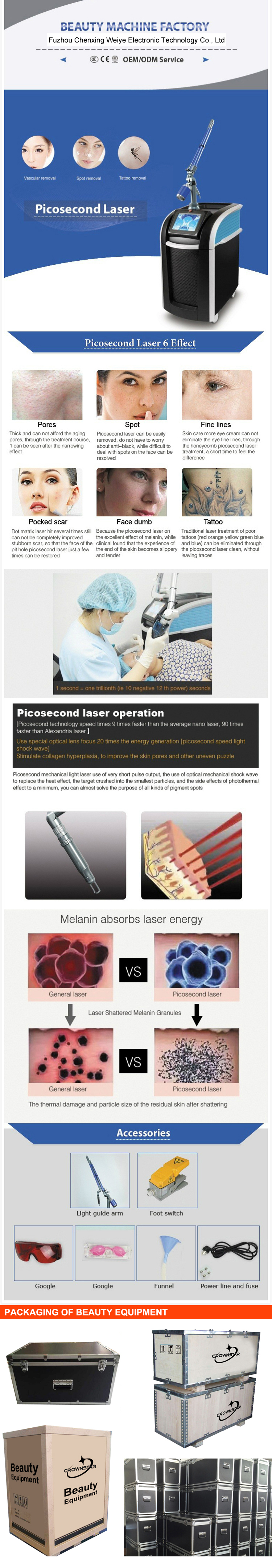 Newest technology short pulse width tattoo removal nd yag picosecond laser beauty machine