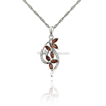 Wholesale jewelry 925 sterling silver pendant necklace with zircon stone