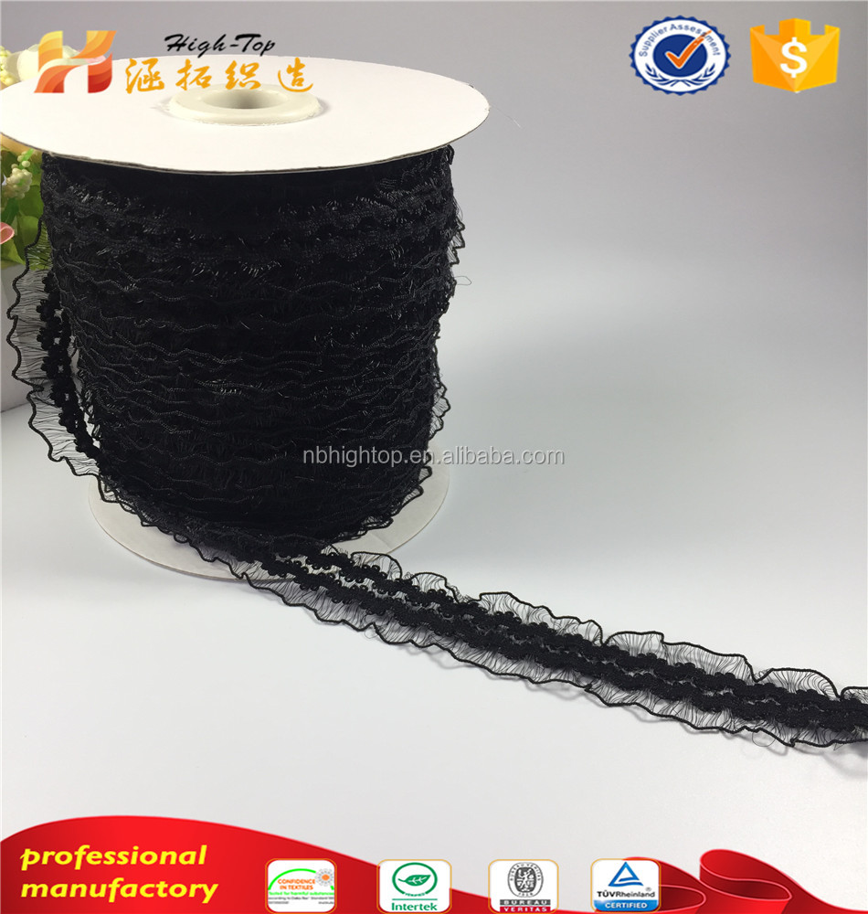 New Arrival Black HIGHTOP Garment use lace elastic webbing nylon knitted tapes soft bra shoulder