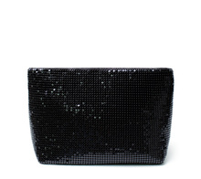 Hot sales fashion large capacity fabric makeup bag black bling portable pouch sequin cosmetic bag