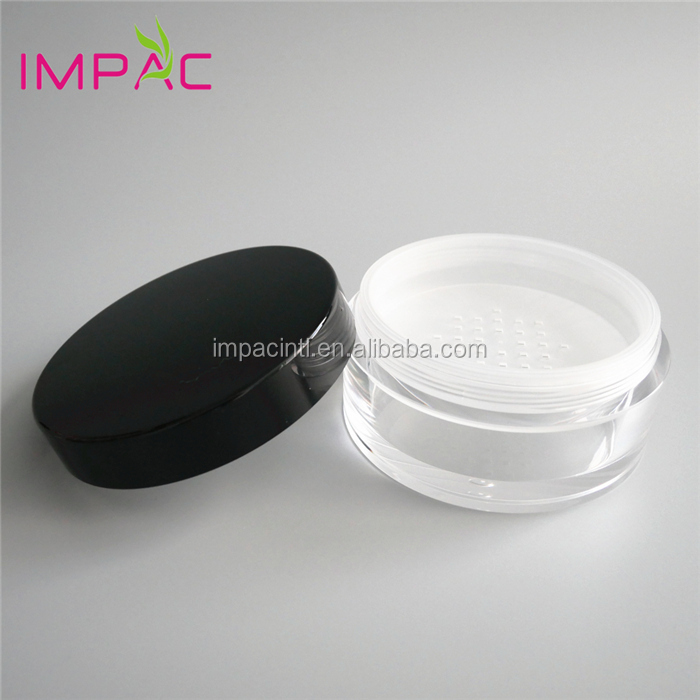 High-end acrylic clear 100g loose powder jar with sifter and black cap