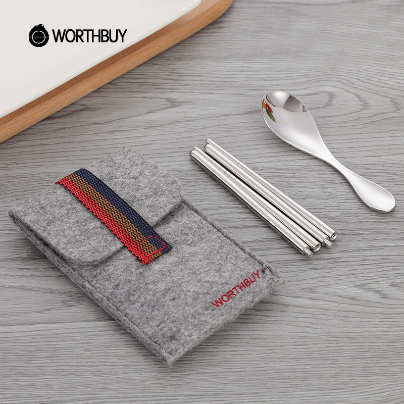 WORTHBUY 3 Pcs Portable Dinnerware <strong>Set</strong> With Bag 304 Stainless Steel Cutlery <strong>Set</strong> Portable Camping Picnic Tableware <strong>Set</strong>