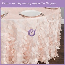 TX22560 hot sale fancy 132'' round wedding decorative petal hanging taffeta embroidery pattern table Cover table cloth