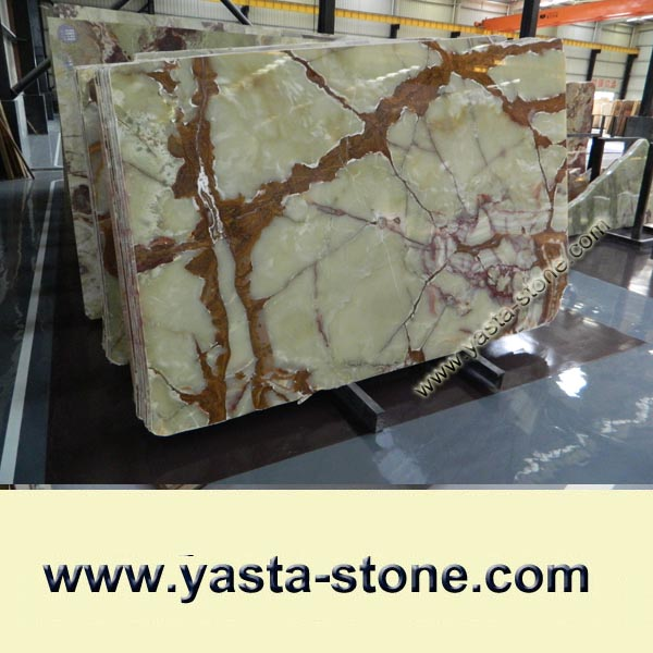 China Polished Light Green Onyx Stone Slab