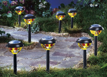 SET OF 8PC PLASTIC SOLAR LAMP WITH TIFFANY PAINT DESIGN solar LED light