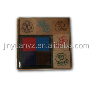 Custom logo wood stamp + ink pad set for kids