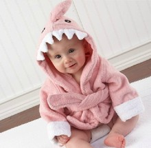 Cute Animal Pattern Hooded Baby Bath Towel Cotton Terry Robe Sleepwear Warm Baby Bathrobe kids