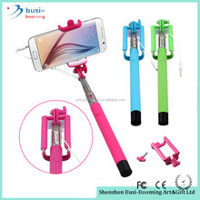 2016 Party Favors Stainless Steel Monopod Wired Channel Selfie Stick With Cable Selfie Monopod Stick