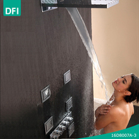 DFI waterfall and rain shower set thermostatic shower mixer with body massage shower jets