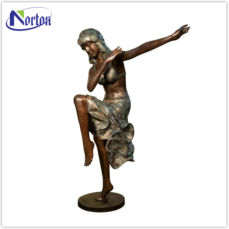 Popular outdoor decor bronze lady statue NTBA-305L