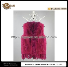 2016 Raccoon Fur Collar Knitted Real Rabbit Fur Vest