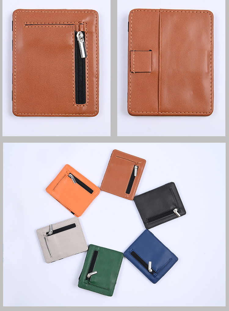 Slim Card Holder Pu Leather Magic Wallet With Zip Coins Pocket And Elastic Straps