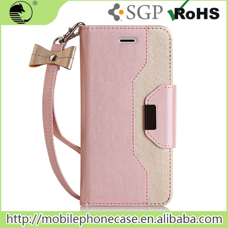 Girl Style PU+TPU Shockproof Leather Case For Iphone 6, For Iphone 6 Leather Wallet Case With Hand Strap