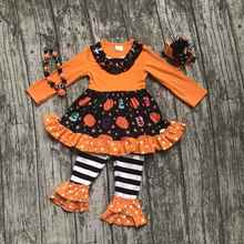 Fall girls outfits kids orange stripes pant sets ruffle outfits pumpkin girls Halloween cotton children clothing match accessory