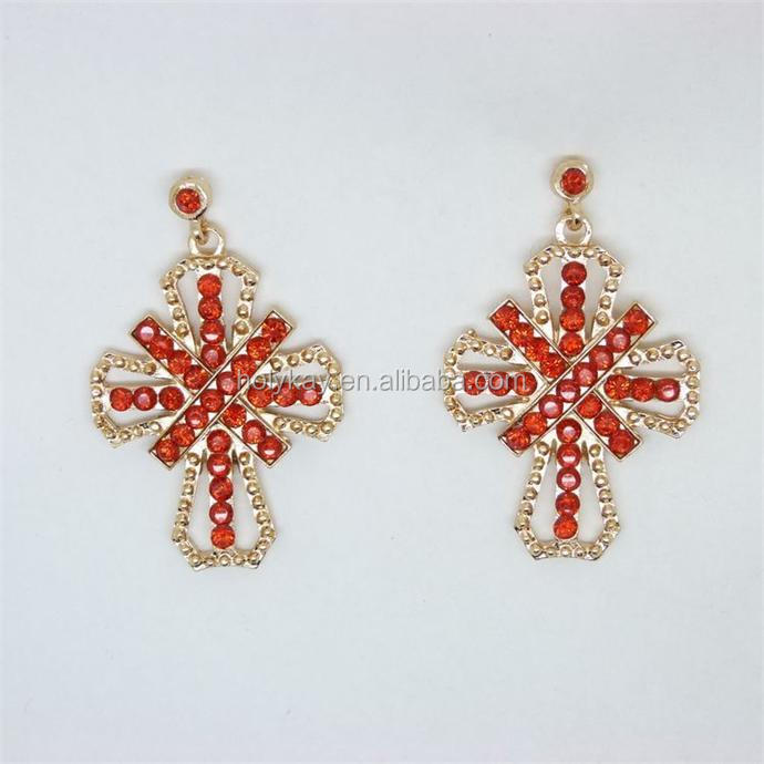 Wholesale fashion antique indian jewellery red crystal cross earrings