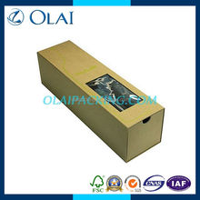 hottest nice single yellow paper box of wine with window wholesale