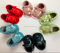 2016 Hot Sale Summer Girls Genuine Leather Baby Sandals Fringe Design Hard Rubber Sole Baby girls Shoes Soft Baby Moccasins