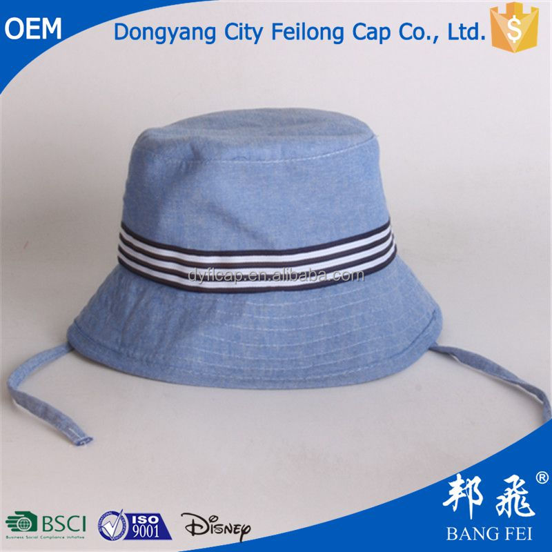 Blue Sample Baby Bucket Hat With String custom your own style