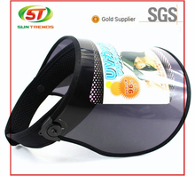 2015 Wholesale Cheap Plastic Long Brim Sun Visor Cap Transparent