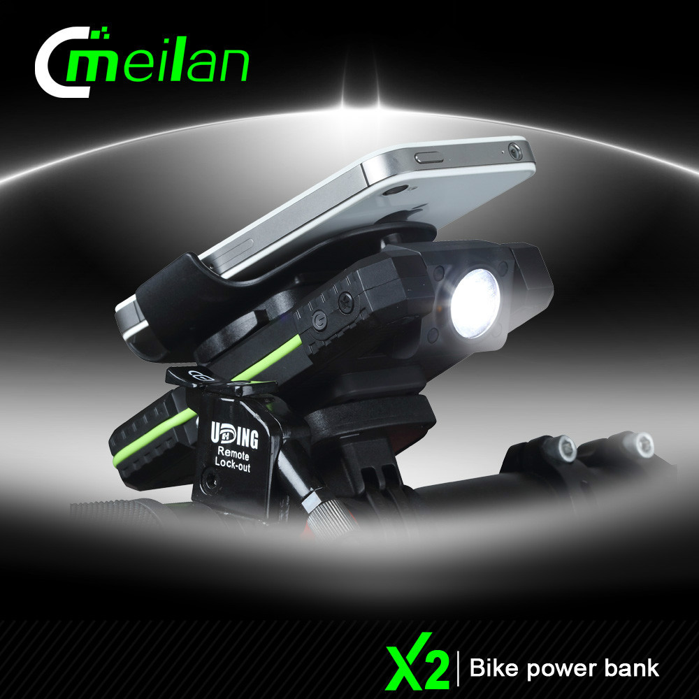 bike front light waterproof USB battery pack phone charger holder Bicycle Accessories Meilan X2 GPS Mount