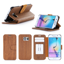Top Selling Products Android Phone Vogue Wood Case Stand Flip Case For Samsung S6