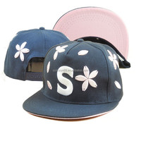 Custom Floral Embroidered 5 Panel Snapback Hat