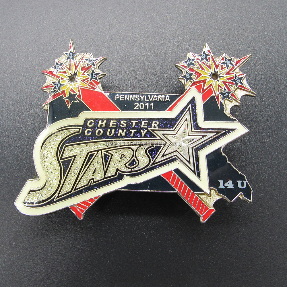 LED flashlight baseball team trading pin and soft enamel softball badge metal with glitter