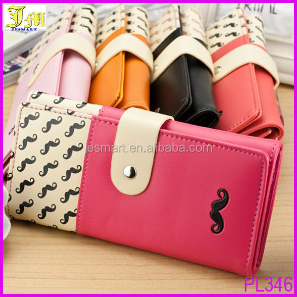 2014 New Fashion Cheap Design PU Leather Button Clutch Women Wallet Purse The Same As Pictures Show