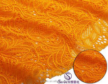 Wholesales Orange Spandex Knitting African Yellow French Lace Fabric/Mesh Fabric for Clothing