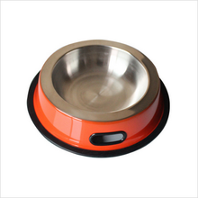 Hot sell Dog bowl with Side Grip handle rubber ring metal Stainless Steel Eating Surface animal Pet feeder/waterer
