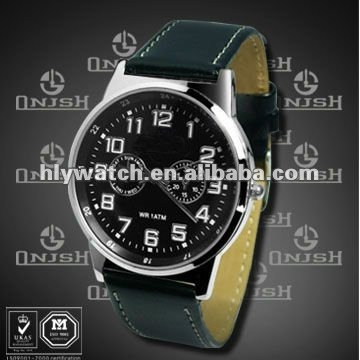 ( Large Watch Face Classical Black Leather Strap Sport Watches For Men) HLY-3005B