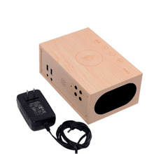Hot sale fashion Home decoration wood speaker clock led alarm clock with thermometer dual USB qi wireless charger