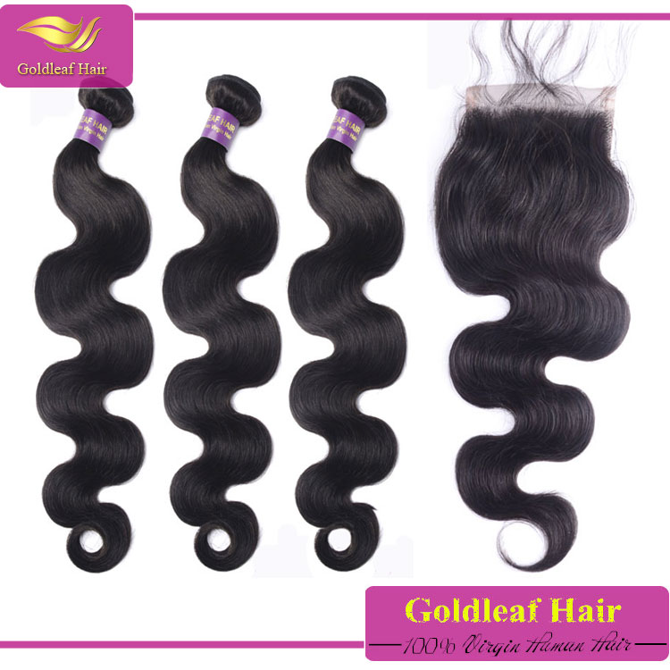 virgin brazilian body wave hair invisible part closure brazillian hair bundles with closure