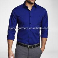Men's Royal Blue Slim Fit Dress Shirt uniform shirt
