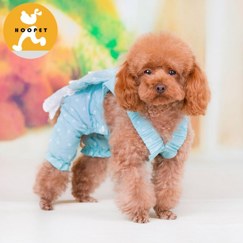 Fancy light blue pet wedding dress pet clothes like Alice in Wonderland