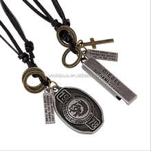 personalized adjustable leather pendant necklace viking jewelry