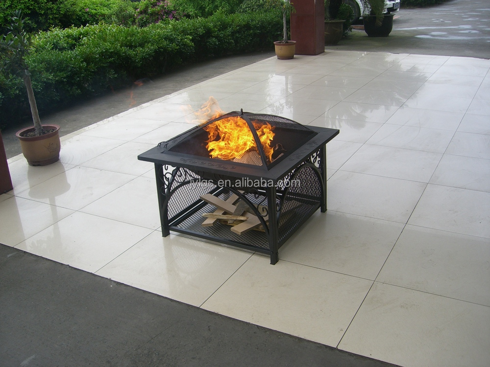 30 39 39 metal square outdoor wood burning fire pit buy iron for Buy outdoor fire pit