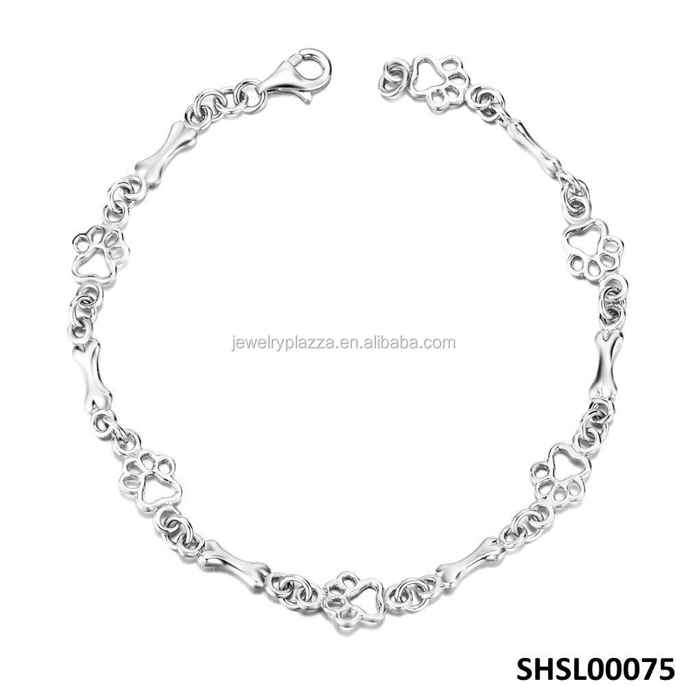 Sterling Silver Animal Paw Print Dog Bone Jewelry Bracelet 7.5 Inches