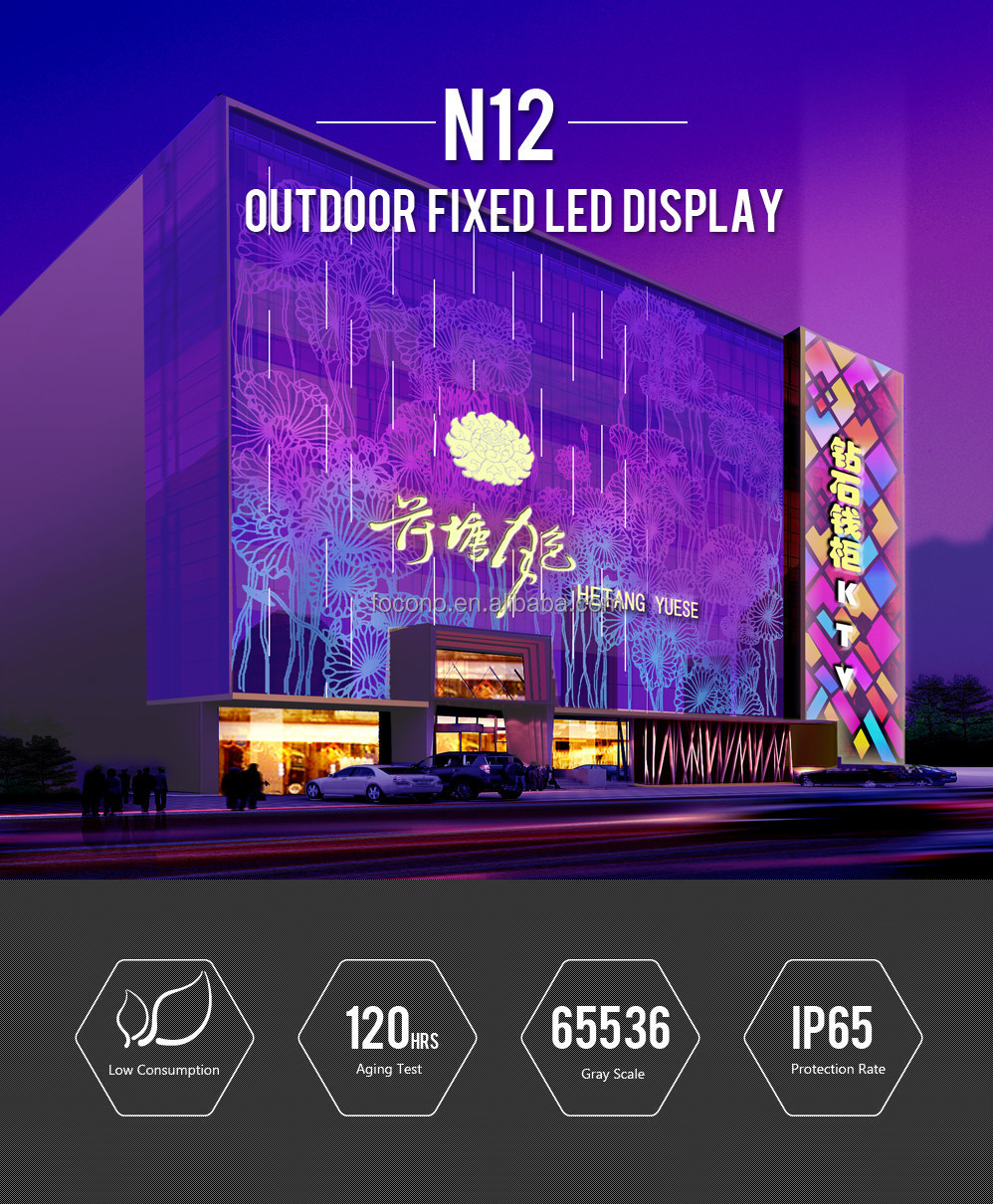 America Hot-sale Full Color RGB Advertising LED Display P12 Outdoor Usage
