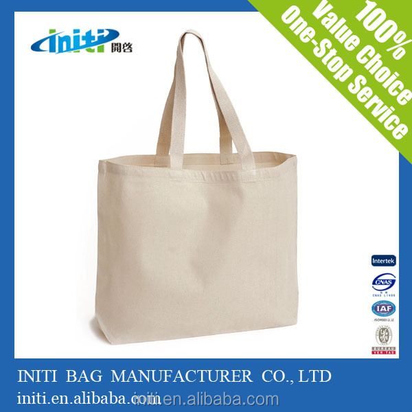 2015 Popular Wholesale 100% Organic plain white cotton bag For Shopping
