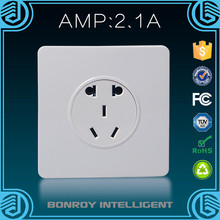 Hot sales wall switch socket steel series 3 pin USB port wall socket