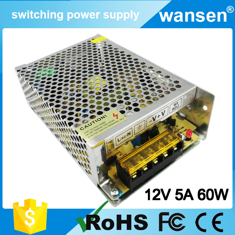 Wansen CE approved S-60-12 12v 5a mode power supply 12 volt led circuit