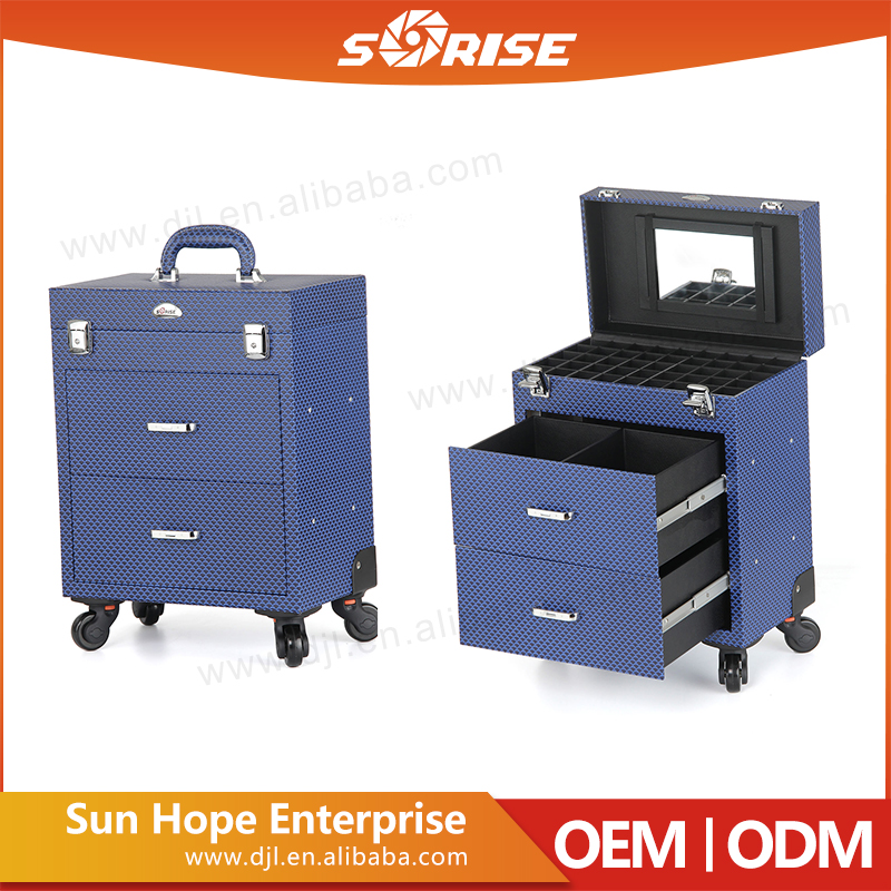 Trade assurance dark blue professional makeup trolley display case with 2 drawers many sub-box with mirror