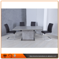 New Desgin Extension Stainless Steel Marble Dining Table Set