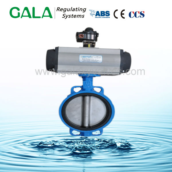 di sealed pneumatic operated butterfly valve dn300
