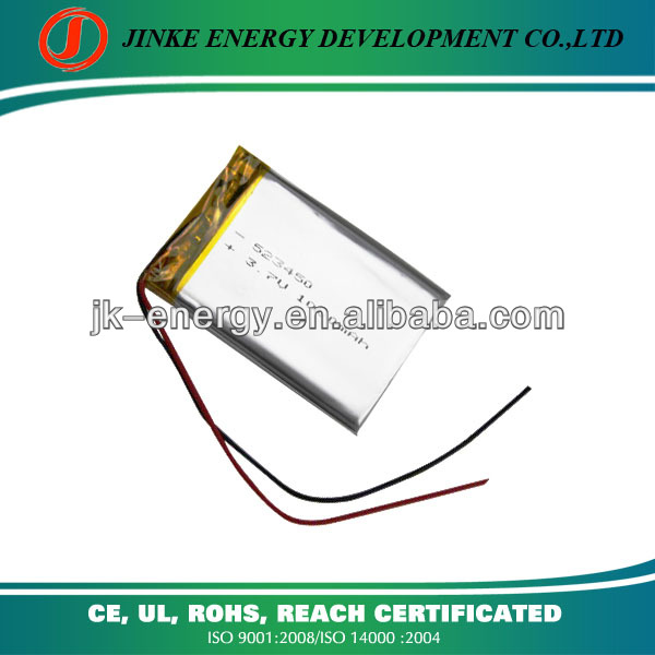 rechargeable battery 3.7v 1000ma 523450 with protection and wire