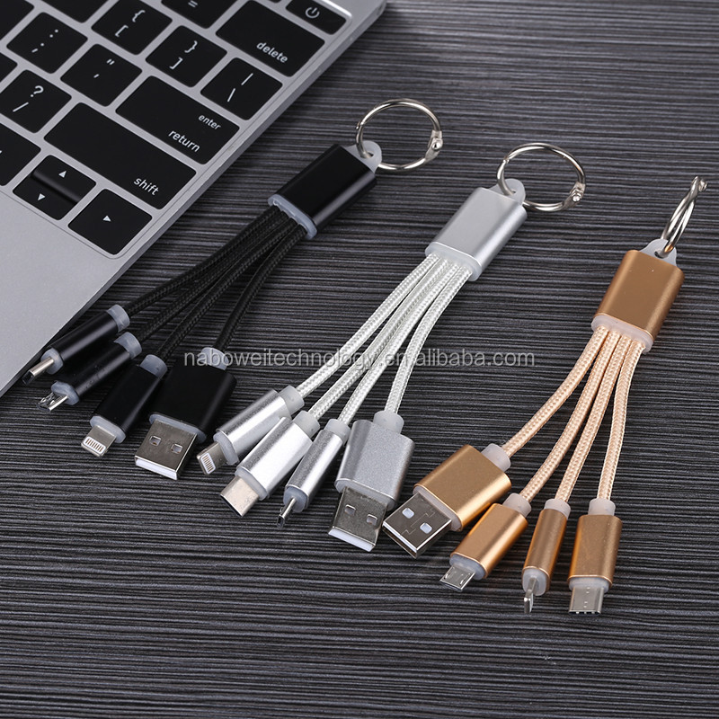 Promotional gift 3in1 Universal USB Charging Cable 2A braided multi-purpose 3 in1 usb keychain usb cable
