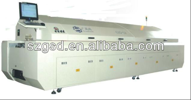 GSD-L8 large size eight zones SMT CFL reflow soldering oven cost, To be the best manufacturers in china